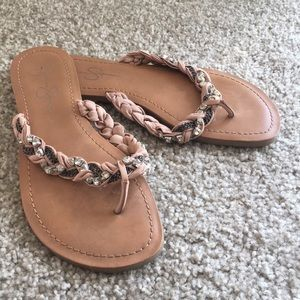 Braided and jeweled flip flop